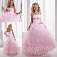 Wholesale Beauty Glitz Pageant Dresses Ball Gowns Sweetheart Neck Pink Organza Sleeveless with Beads Zipper Back Sweep Train Kids Party Gowns