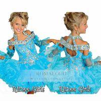 Wholesale Little Pink Tutu Dress - 2016 RitzeeTiers Organza Mini Beaded Halter off shoulder Tutu Glitz Flower Girl Pageant Girls dresses Little Kids Birthday Party Gowns