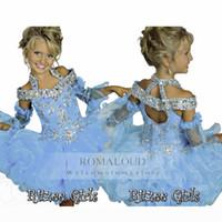 balls hand embroidery - 2016 RitzeeTiers Organza Mini Beaded Halter off shoulder Tutu Glitz Flower Girl Pageant Girls dresses Little Kids Birthday Party Gowns