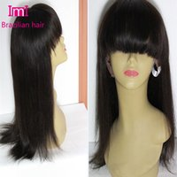 bang hair pictures - 2015 A grade Front Lace wigs Glueless Full Lace Wigs straight Human Hair wigs with bangs inch density real picture