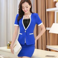 beauty salon business - hot sale summer style women business suits formal office suits work plus size xxxl short top and skirt blue beauty salon wear
