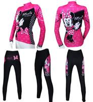 al por mayor print mouse pad-Nuevas mujeres de Wholesale-2015 un ciclo Jersey y los pantalones con la ropa almohadilla de gel de color rosa Minnie Mouse dama de impresión y una niña de manga larga camiseta