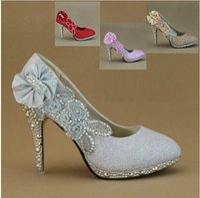 best bridesmaid shoes - Best Sparkling Flowers Diamond Wedding Women s Dress Shoes Pink Gold Bride Bridesmaid CM High Heels Party Prom Shoes