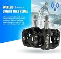 Wholesale Wellgo Smart Bluetooth Bike Pedal Ultralight Bearings Bicycle Cycling Pedals Cr mo steel Axis Black g cm
