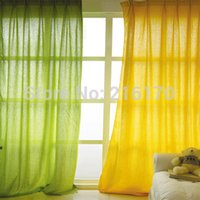 Wholesale Krean style Fluid cotton linen fabric plain sheer curtains for the bedroom living room windows colors select