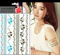 best neck tattoos - 10Pcs Mix Colors waterproof Tattoos Body Arm Tattoos Sticker Gold Metal Color Temporary Tattoos Top Quality Best Selling