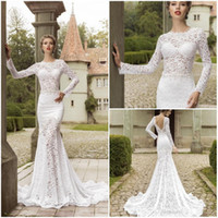 Wholesale 2016 Hollow Lace Mermaid Long Sleeves Wedding Dresses Appliques Jewel Neck Backless Sweep Train New Custom Make Garden Bridal Gowns
