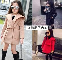 american overcoat - 2015 Children Girls Woolen Overcoat King size Coat Collect waist Cotton Outwear Kids Casual Coat Baby Hot Fashion Outwear B3786