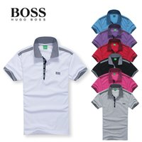 solid shirts - 2015 Boss polo men solid polo shirt Casual short sleeve Shirts plus size high quality more details contact to get