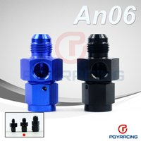 Wholesale PQY STORE AN AN6 Male to Female Twin quot NPT Gauge Sensor Side Port Adapter Black or Blue PQY SL9192