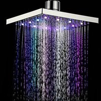 Wholesale D1U New quot Square Bathroom LED Rain Top Shower Head Colors Automatic Changing With Wall Mounted Or Ceiling Mounted Shower
