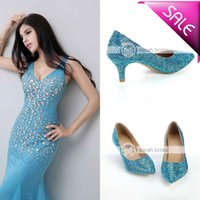 crystal pumps - New Blue Rhinestone Crystal Bridal Dress Office Shoes Stiletto High Pumps Heels for Lady Women s Prom Party Evening Wedding cm Cheap