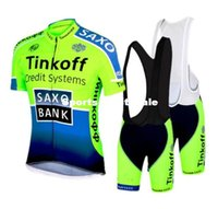 Wholesale 2015 saxo bank tinkoff Team fluorescence green cycling jersey bib shorts short sleeve Ropa Ciclismo bicicletas maillot ciclismo