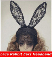 Wholesale Styling Lady Gaga Black Lace Rabbit Ears Headband Bunny Hair Band Veil Mask Party Accessories new arrive superb
