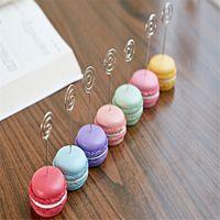 Wholesale 10pcs Cute Macaron Design Resin Card Memo Photo Clip Holder Stander for Desk Decoration Supplies