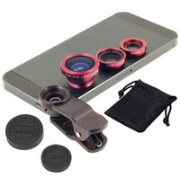 Wholesale Universal In Clip on Fish Eye Macro Wide Angle Mobile Phone Lens Camera kit for iPhone Samsung S4 S5 note2 MOTOROLA