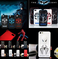 batman cell phone - Super cool D Spiderman Batman Hard metal PC Case back Cover for iphone S S Plus iphone4 i6 bat man cell mobile phone skin