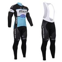 achat en gros de quickstep vélo-2015 Cycling Jersey pour les équipes Quickstep d'hiver à manches longues thermique molleton Cyclisme Vêtements / Vélo Jersey et (bib) Pants Set Quick Dry