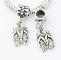 big flip flops - Antique Silver Slippers Flip Flops Big Hole Beads Dangle Fit European Charm Bracelets x32 mm B401