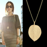 costume jewelry necklace - Cheap Costume Jewelry Gold Color Alloy Leaf Design Pendant Necklace New For Women