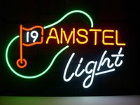 amstel light neon - NEW AMSTEL LIGHT BEER TH HOLE GOLF LAGER REAL GLASS NEON LIGHT BAR PUB SIGN quot