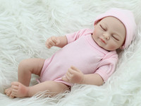 Cheap Wholesale-Sleepy Full Soft Silicone Reborn Girls Doll 10 inch 25 cm Lifelike Vinyl Dolls Baby Alive Baby Sleeping Toy