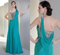 indian dress - 2016 Charming Saudi Arabic Evening Dresses One Shoulder Crystal Beaded Chiffon Indian Formal Vestidos Floor Length Blue Backless Prom Dress