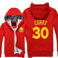 Wholesale GOLDEN STATE CURRY WARRIORS Winter Sports Coats Slim Mens Hoodies Sweatshirts Cardigan Thickening Plus Velvet Jacket