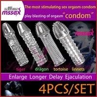 Cheap 4pcs lot sex products for men Tpe Reusable penis sleeves men's enlarger extender delay sex toys four beast orgasm condoms