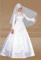 Cheap 2015 New Beautiful Arabic Wedding Dress A-Line Floor Length High Neck Long Sleeve Dress Embroidery White Satin Church Muslim Wedding Dresses