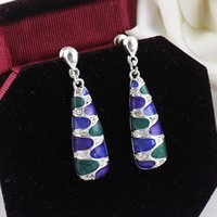 Wholesale Perfeel New Coming Silver Color Alloy Colorful Enamel Dangle Earrings For Women