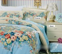 Cheap 100% Cotton Bedding sets Vintage Baby Blue Floral Flower Print Quilt Doona Duvet Cover Set