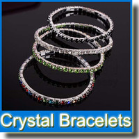 Wholesale 1 Row Row Rhinestone Crystal Bracelets Tennis Bracelet Fashion Jewelry Multi Color