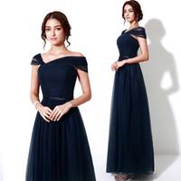 evening wear - Cap Sleeve Navy Blue Evening Gown Lace up Corset A Line Tulle Long Elegant Formal Evening Dress Women Wear