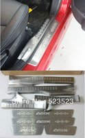 Wholesale DHL EMS Fedex Free Ship For Mitsubishi ASX Exterior Interior Door Tread sill scuff plate Trim Stainless Steel