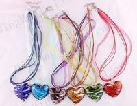 Cheap NEW wholesale 6pcs handmade mix color Italian venetian 3D Watermark Heat Lampwork murano glass beads pendant 3+1 silk necklaces
