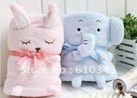 Wholesale Coral Fleece baby blanket Cute Rabbit and Elephant Throw blanet aie condition quilt elephant blanket x82cm