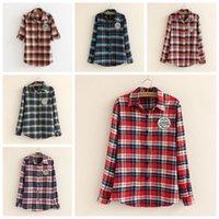Wholesale 2014 New Fashion Womens Tops Casual Blouse blusas Turndown Collar Long Sleeve Plaids Print Pattern Shirt blusa feminina S2516 rl