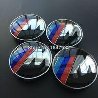alloy wheels for cars - High quality SPORT M M mm full chrome car emblem Wheel Center Hub Cap auto covers for car badges emblem decoration