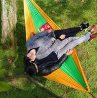 Wholesale 100PCS HHA634 Camping Hammock Outdoor Parachute Double Person Hammock Safe Outdoor Parachute X cm Double Person Hammock Allowing