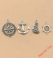 Traditional Charm handmade craft - 100Pcs Mixed Tibetan Silver Tone Compass Ship Rudder Anchor Charm Pendant Jewelry Making Craft DIY Handmade