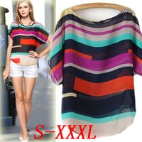 Wholesale 2016 Fashion Summer Blouses Womens Tops Short Sleeve Loose Sexy Plus Size Blouses Color Striped Chiffon Shirts Vestidos Casual Shirts B52