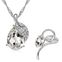 Wholesale 2015 Limited Time limited Watch Women Christmas Gift Delicate Lovely Water Drop Necklace brooch Lead tin Alloy Plated Jewelry Set B123 f06