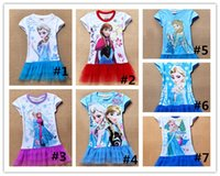 Wholesale Hot Sell Frozen Characters Princess Baby Girl Dress Short Sleeve Girls Blouse Shirt Dress Elsa And Anna T Shirt Dress Yrs Kids