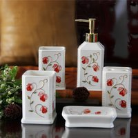 Wholesale 2016 Chinese mordern ceramic bathroom accessory piece set Jingdezhen porcelain eco friendly bathroom products