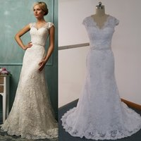 Cheap Fit N Flare Wedding Dresses Real Images inspired by Amelia Sposa Sheer V Neck Cap Sleeve Beaded Court Train Lace Bridal Wedding Gowns