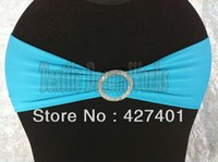 Cheap Hot Sale Turquoise Spandex Bands Lycra Band Chair Covers Sash With Crystal Round Buckle For Wedding & Banquet