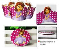 Sofía envolturas de la magdalena de la princesa y los primeros de 1set = 24pcs decoraciones de la fiesta de cumpleaños del bebé fiesta de suministros ducha chica sofia envío libre