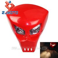 Wholesale Custom FRP Street Fighter Headlight V Red Lamp Street Racing Skeleton Skull Head Light Universal Motorcycle Vision Light