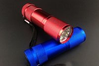 Wholesale 9 LED Mini Torch Colors Mini LED Flashlight LM LED Camping Flashlight Torch Waterproof Flashlights Lamp AA Battery Powered Torches